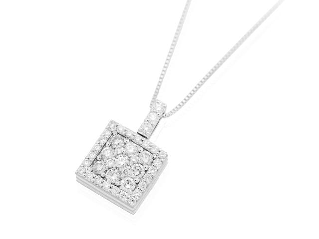 手元供養 遺骨を入れるジュエリー メモリアルジュエリーWith K18ダイヤモンドネックレス スクエア(ダイヤモンド)