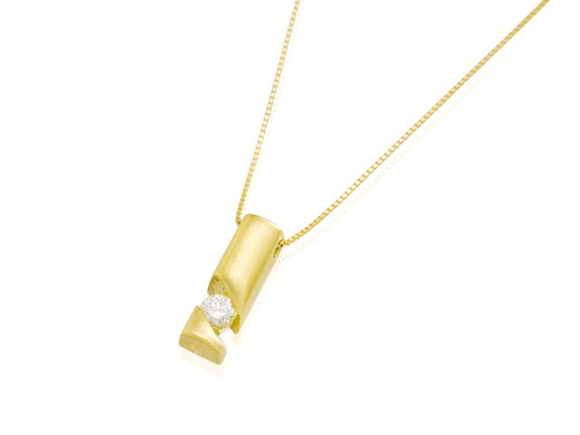 手元供養 遺骨を入れるジュエリー メモリアルジュエリーWith K18ダイヤモンドネックレス スパイラルPG(イエローゴールド)