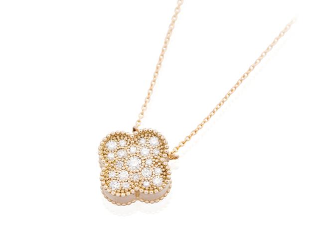手元供養 遺骨を入れるジュエリー メモリアルジュエリーWith K18ダイヤモンドネックレス クローバーPG(ピンクゴールド)