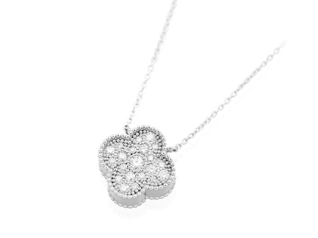 手元供養 遺骨を入れるジュエリー メモリアルジュエリーWith K18ダイヤモンドネックレス クローバーPG(ホワイトゴールド)